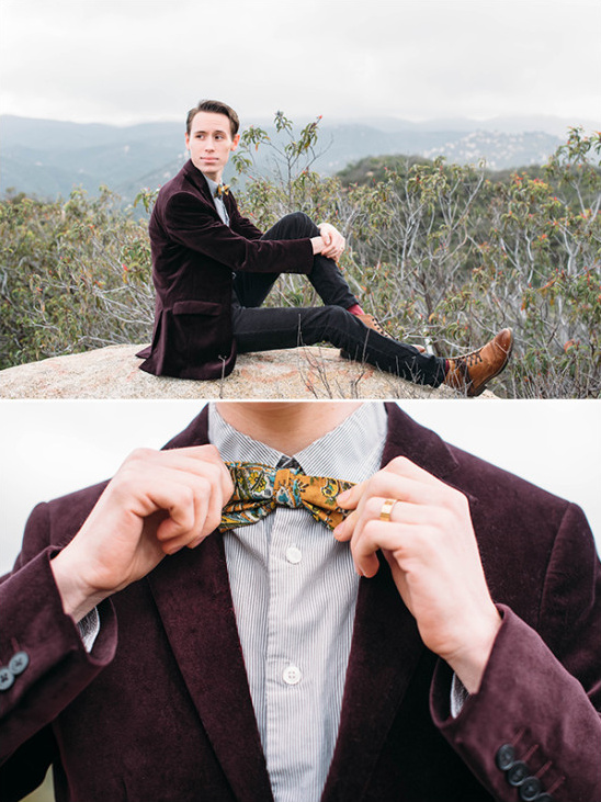 Vintage velvet jacket look for groom