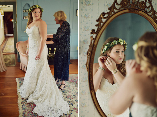strapless lace accented wedding dress
