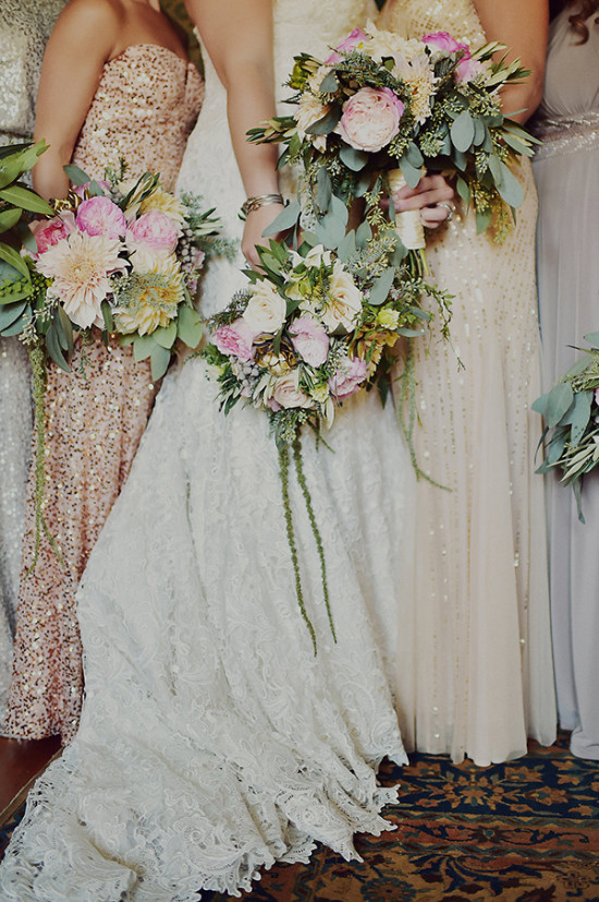 vintage pink and ivory wedding bouquets