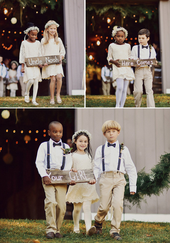 cute flower girls and ring bearers caring wedding signs