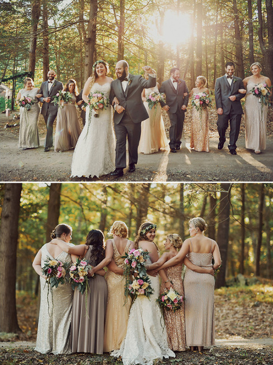 rustic vintage glamor wedding party