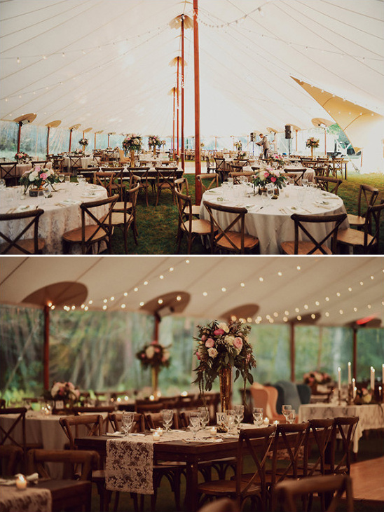 vintage tent wedding reception with lace runner tables and bestro lights