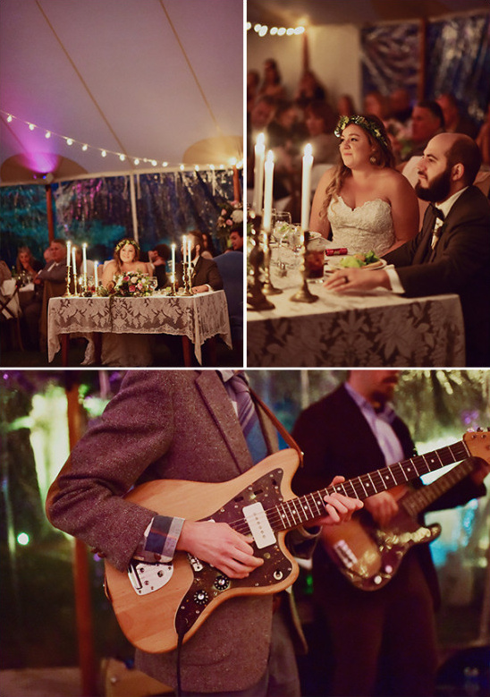 sweetheart table and live reception music