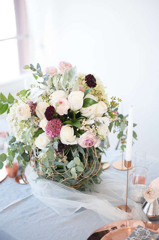 white purple and pink centerpiece