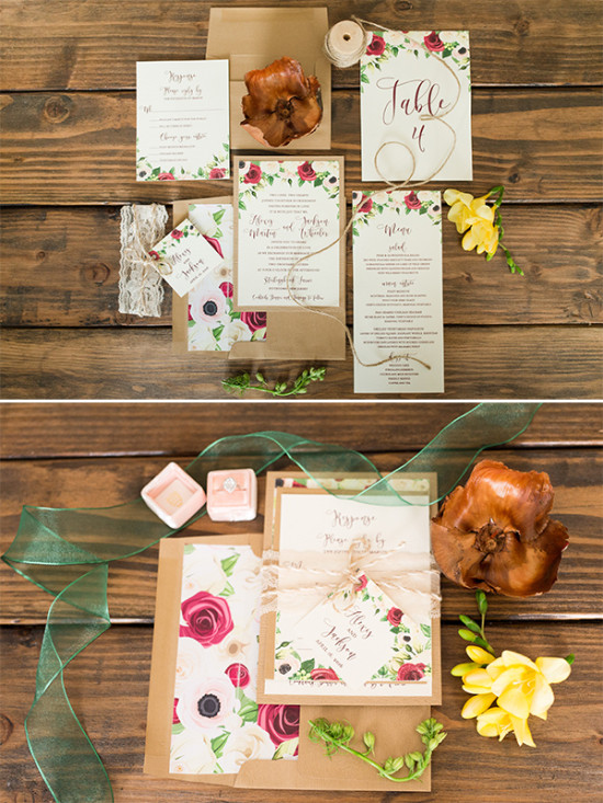 pink and red flower wedding stationery