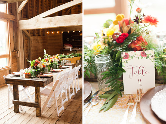 rustic pretty wedding reception
