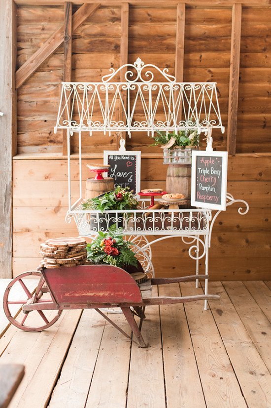 vintage pie cart dessert display