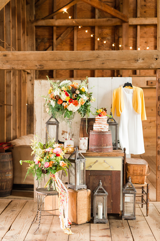 barn wedding dessert display