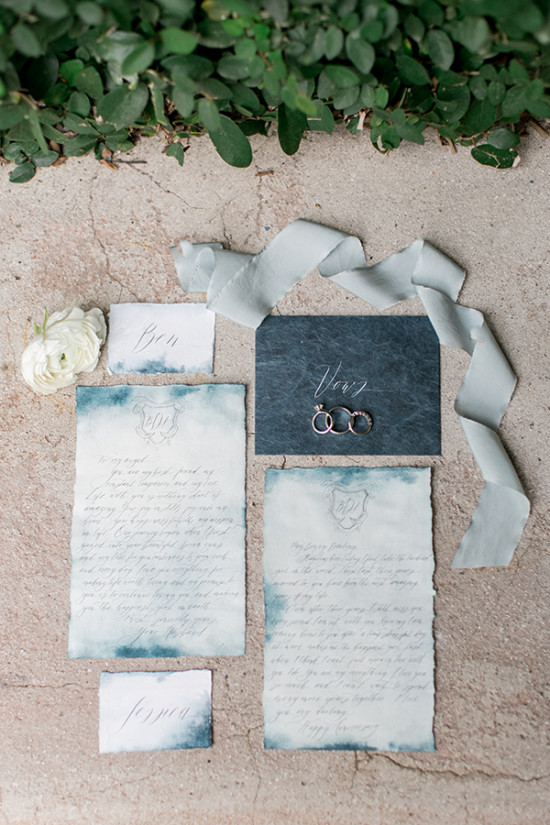 blue watercolor wedding invites