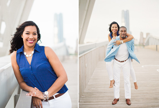 blue and white engagement outfits