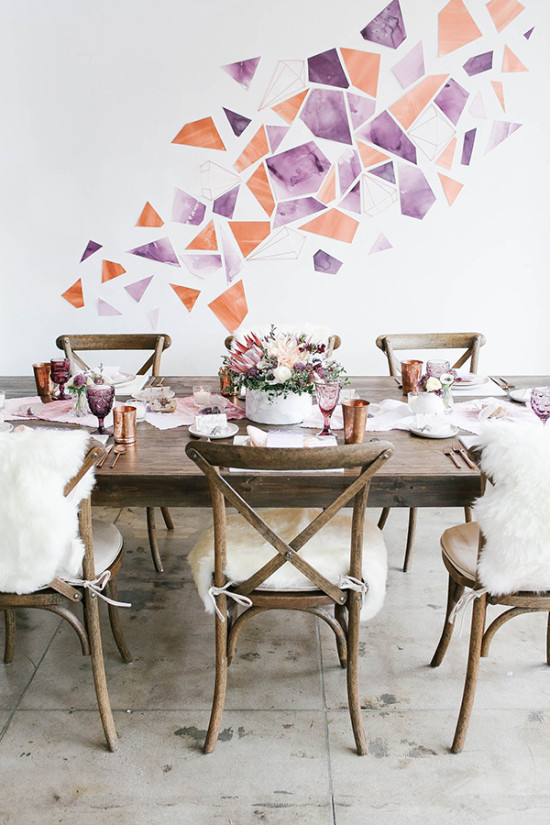 Purple and copper modern boho rehearsal dinner