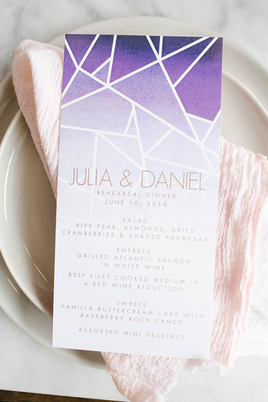 Purple geometric menu
