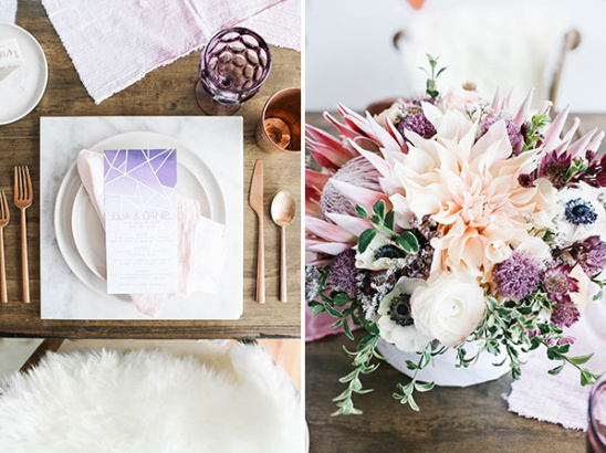 Table place setting and centerpiece