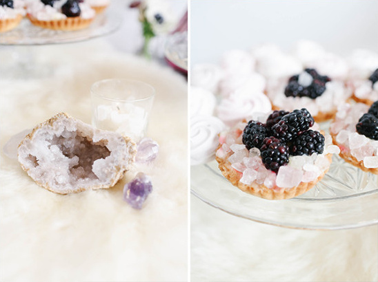 Blackberry tart and geode decor