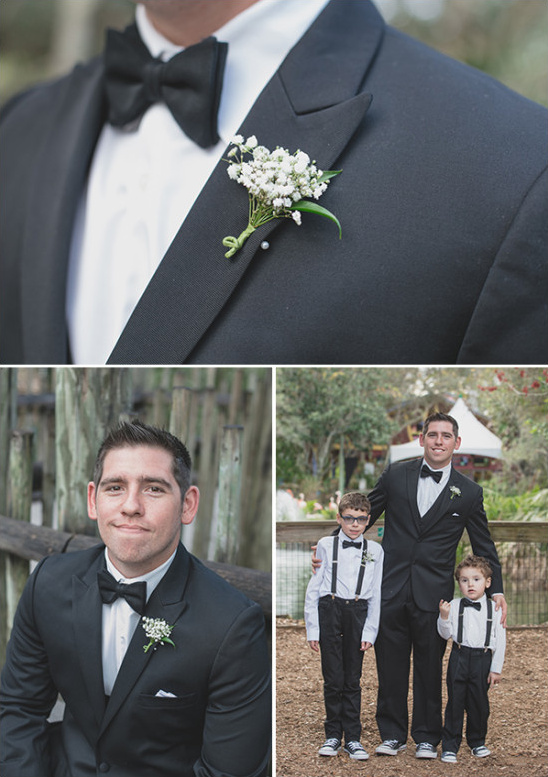 classic tux groom with ring bearers
