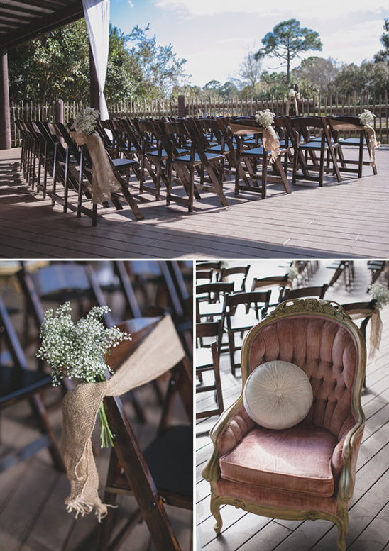 outdoor rustic burlap and babys breath wedding ceremony