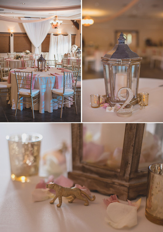 gold and pink table setting with animal accents