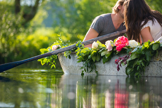 Floral row boat