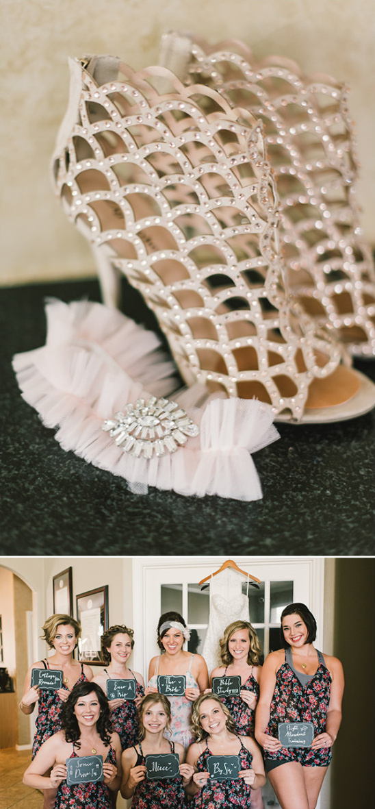 glamorous wedding shoes and cute bridal party photo idea