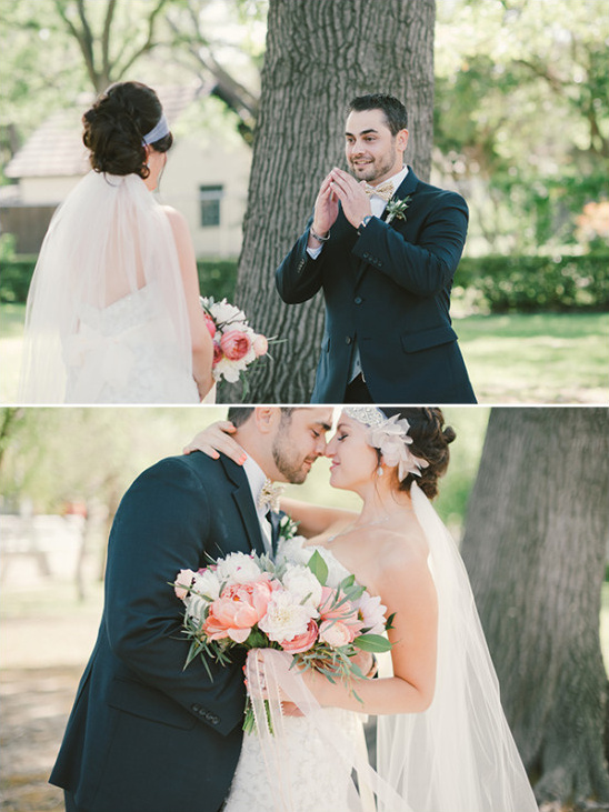 sweet photos capturing bride and groom first look