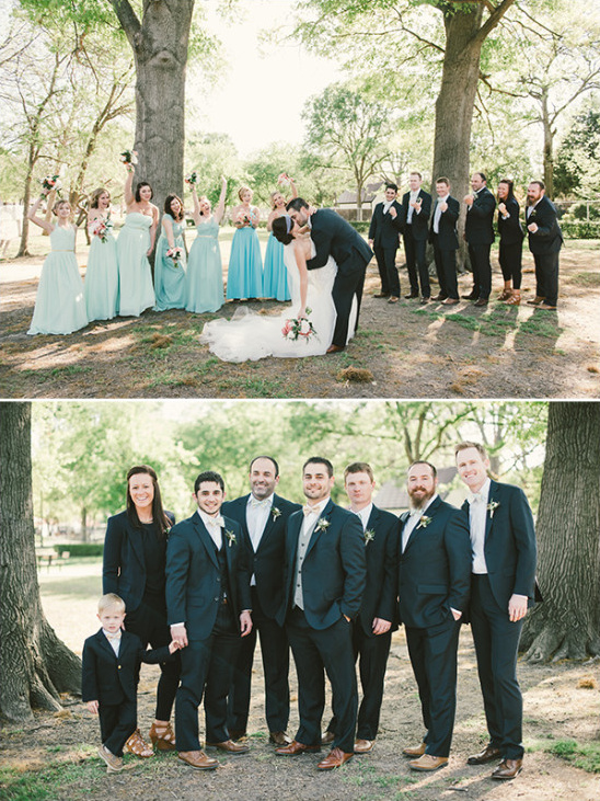 blue and grey wedding party