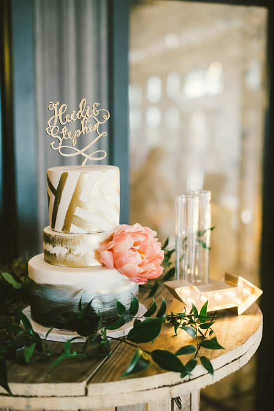 gold and white modern wedding cake