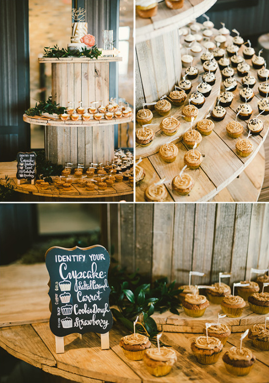 indie rustic cupcake display