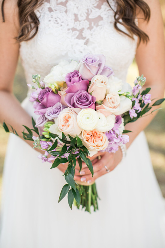 purple peach and white wedding bouquet