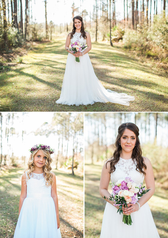 simple and classic bridal style and flower girl look