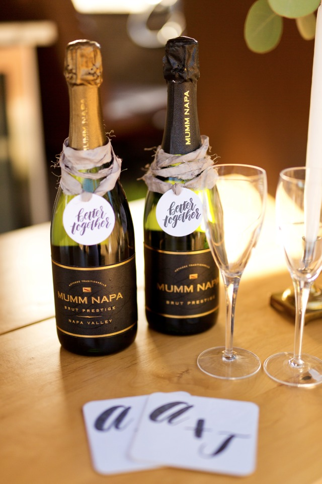 Better together wedding tag idea for champagne