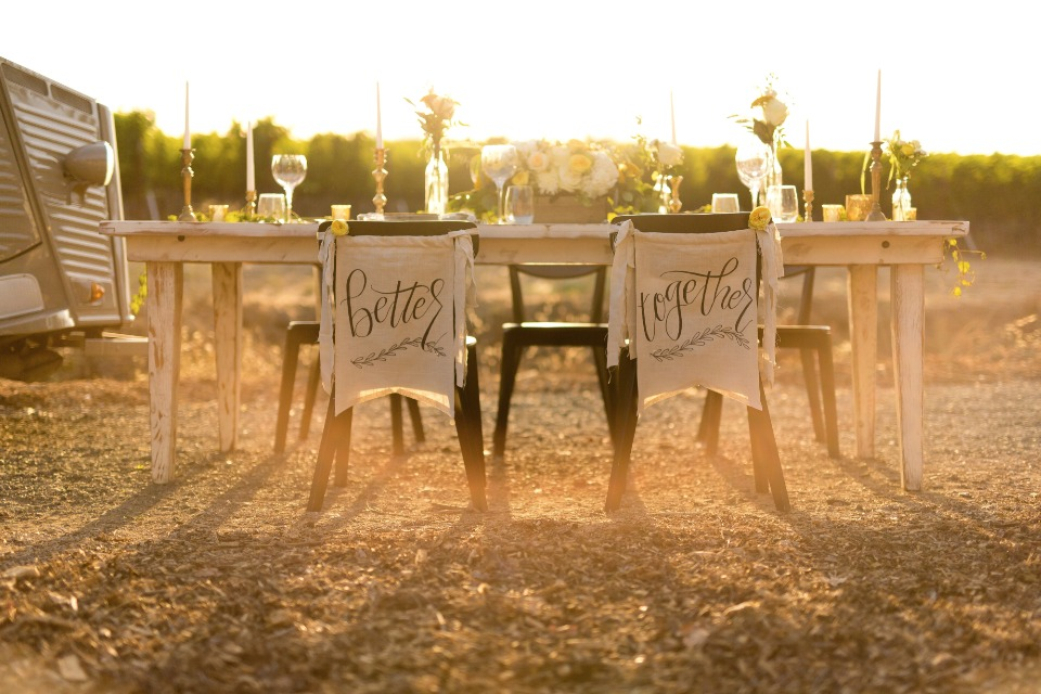 His and hers chair banners for wedding