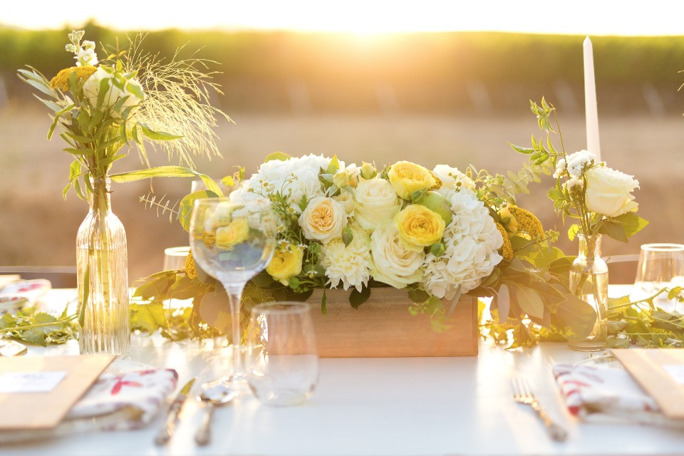 White and yellow flower box centerpiece