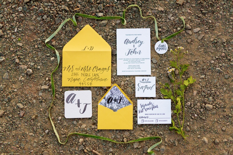 Yellow grey and white invitation suite