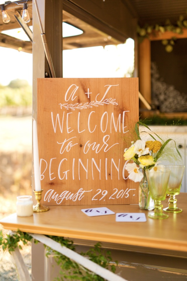 Wood and paint wedding sign idea