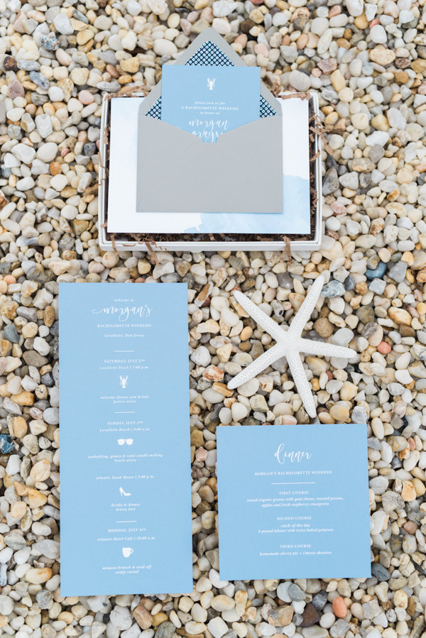 light blue and white beach party invites