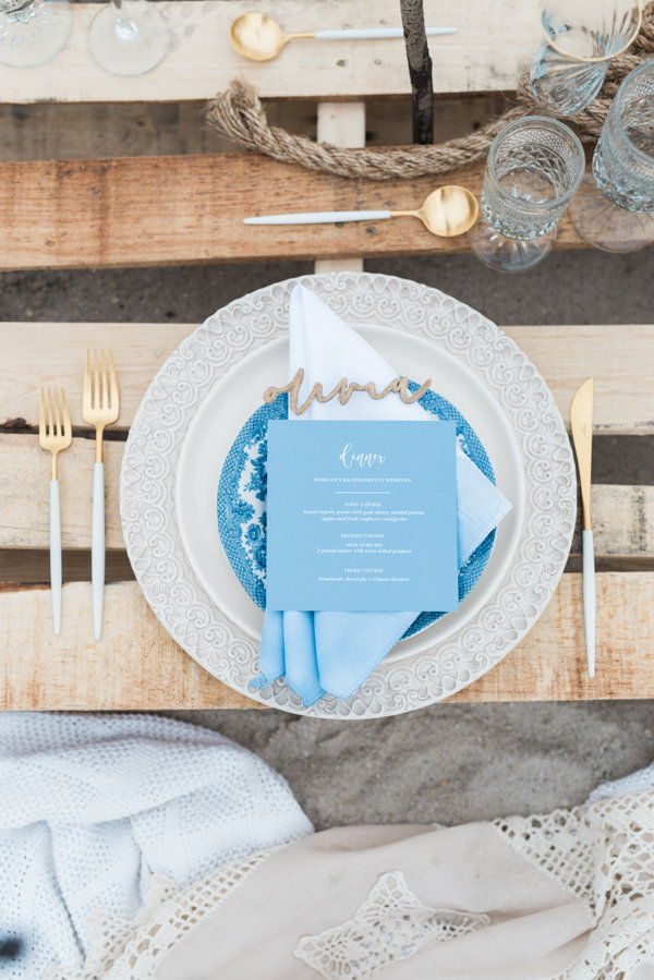 blue and white table set up