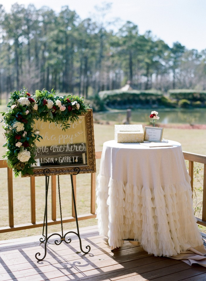 Chic ceremony welcome table and sign