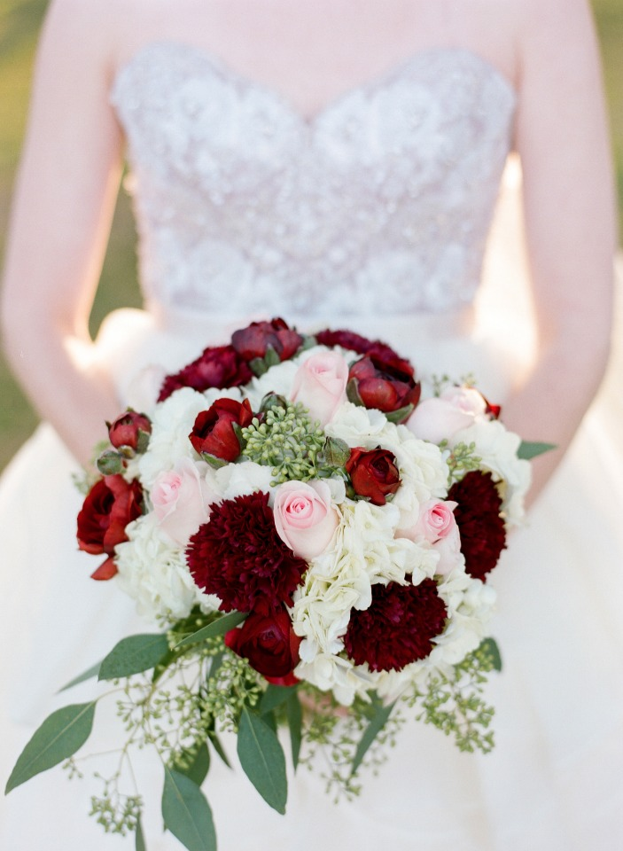 Red white and pink wedding bouquet