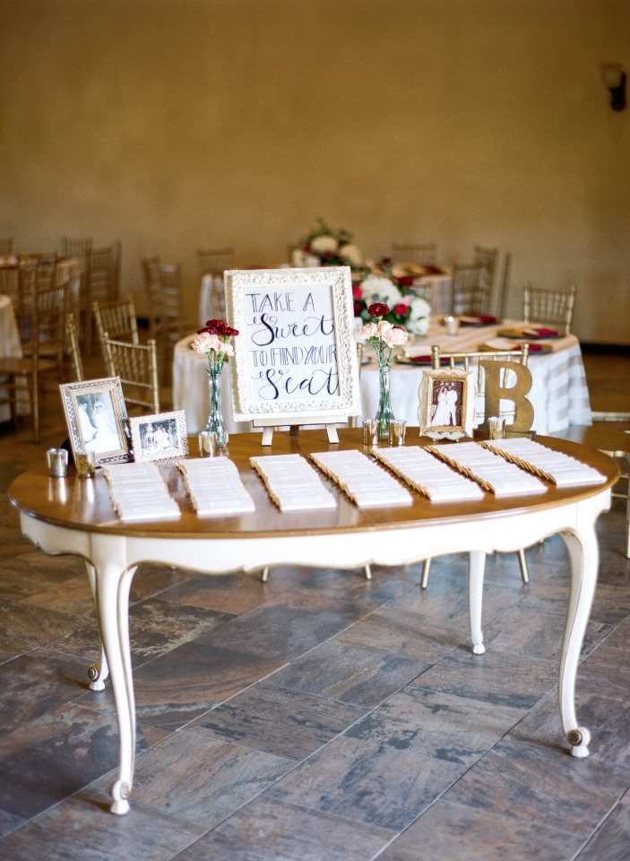 Chocolate bar wedding favors and escort cards