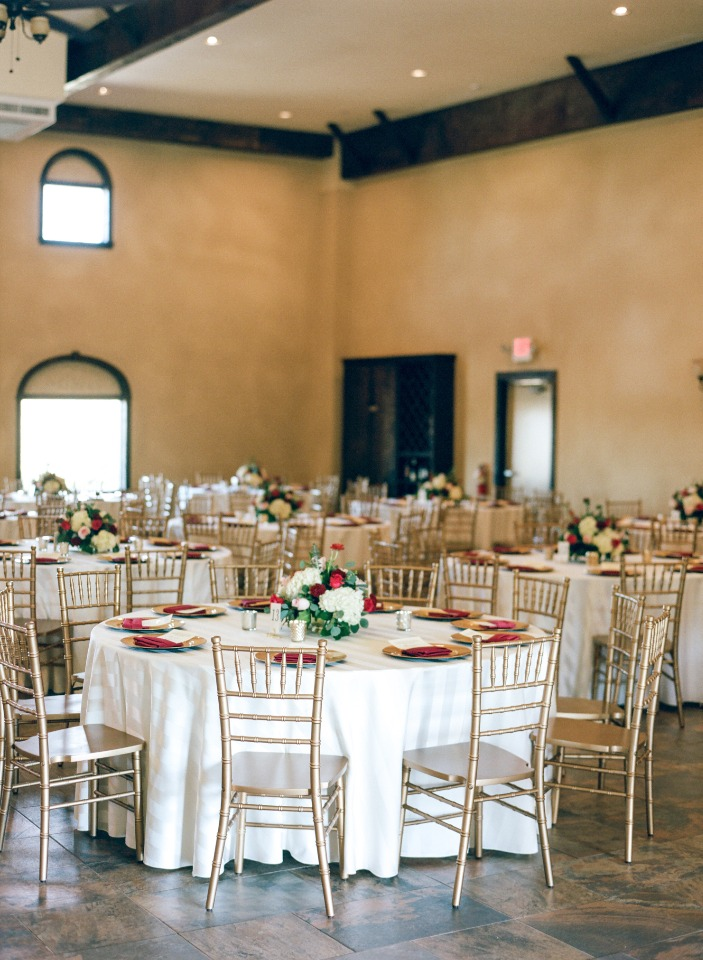 Gold and maroon reception decor