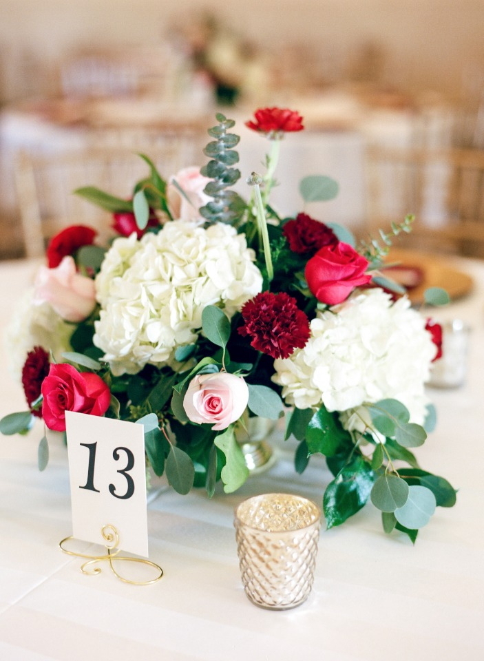 Red pink and white centerpiece
