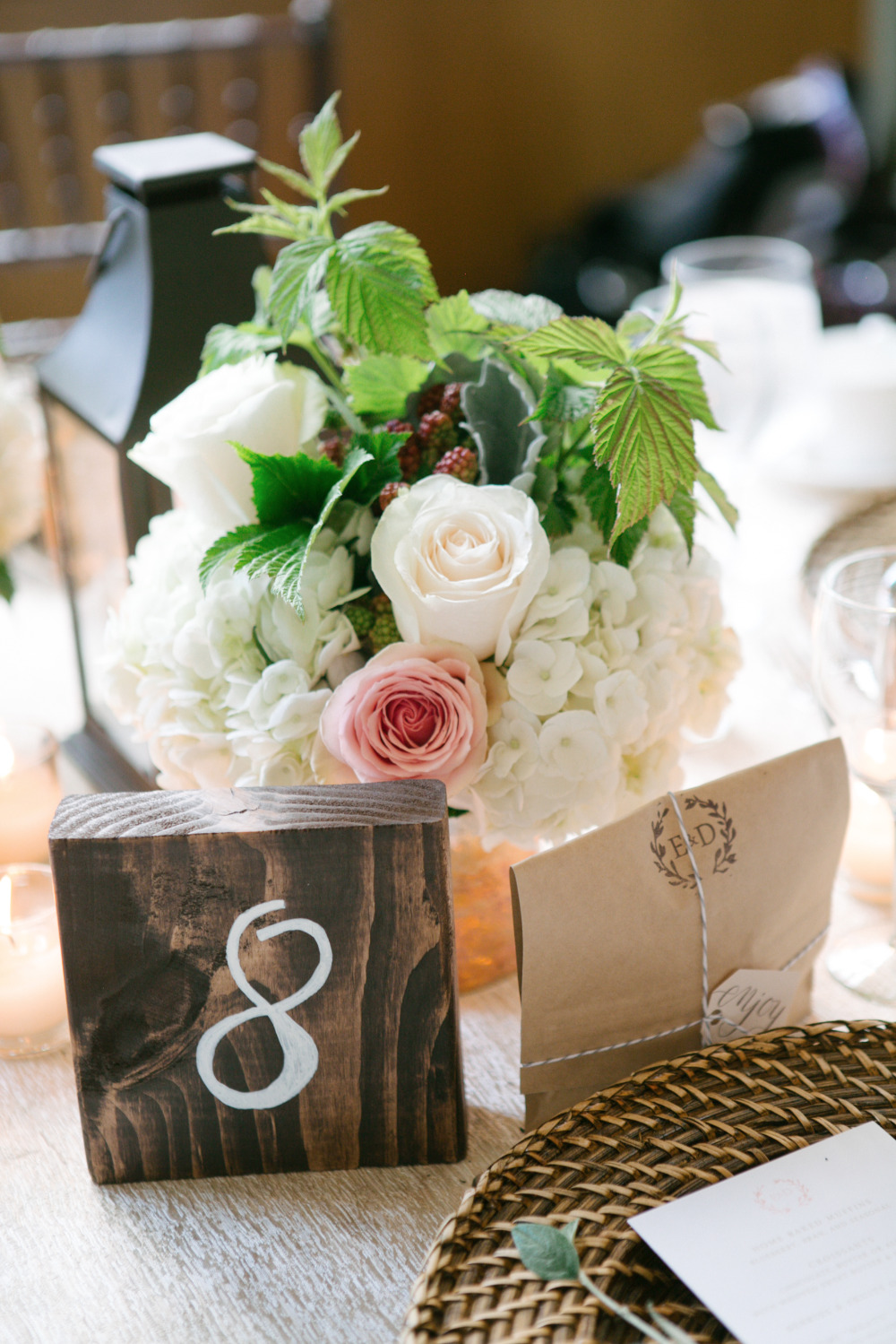 wood block wedding table numbers