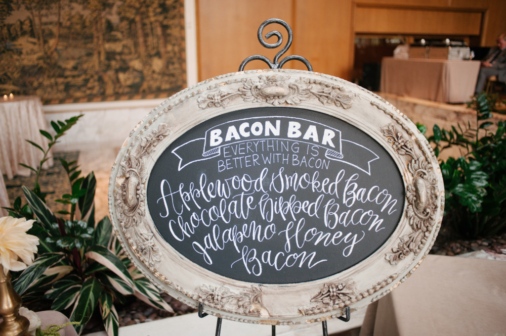 wedding chalkboard bacon bar sign