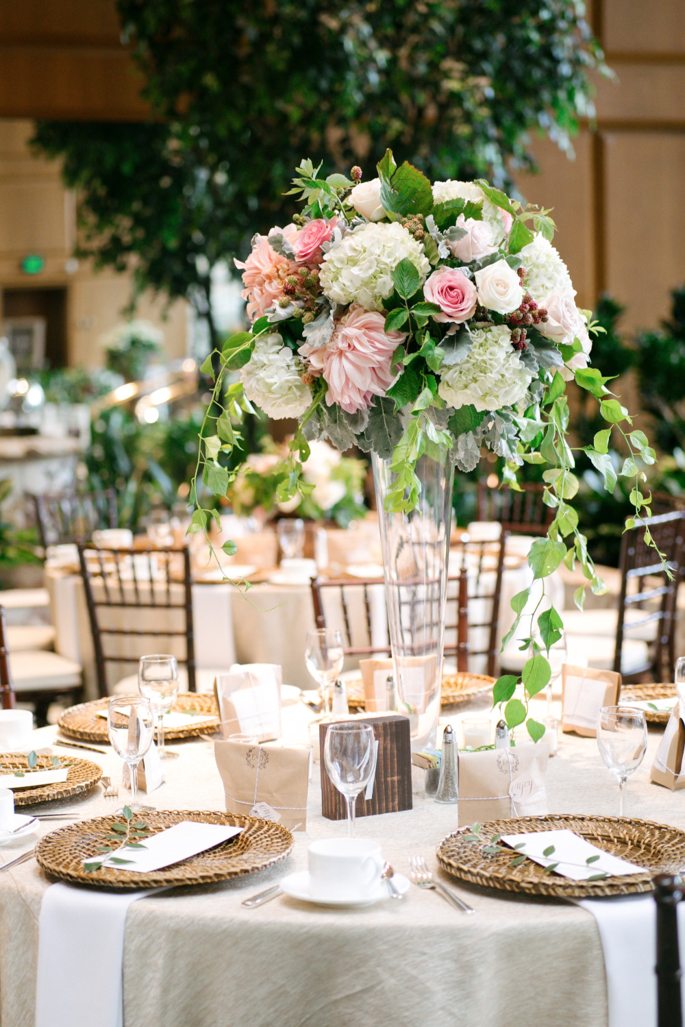 pink and white floral tall centerpiece