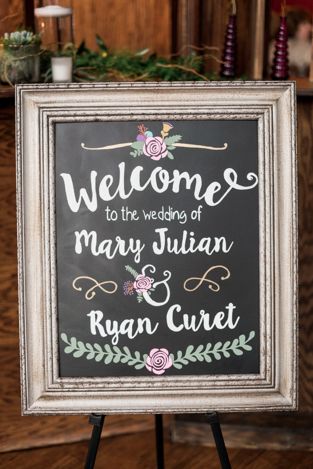framed wedding welcome sign