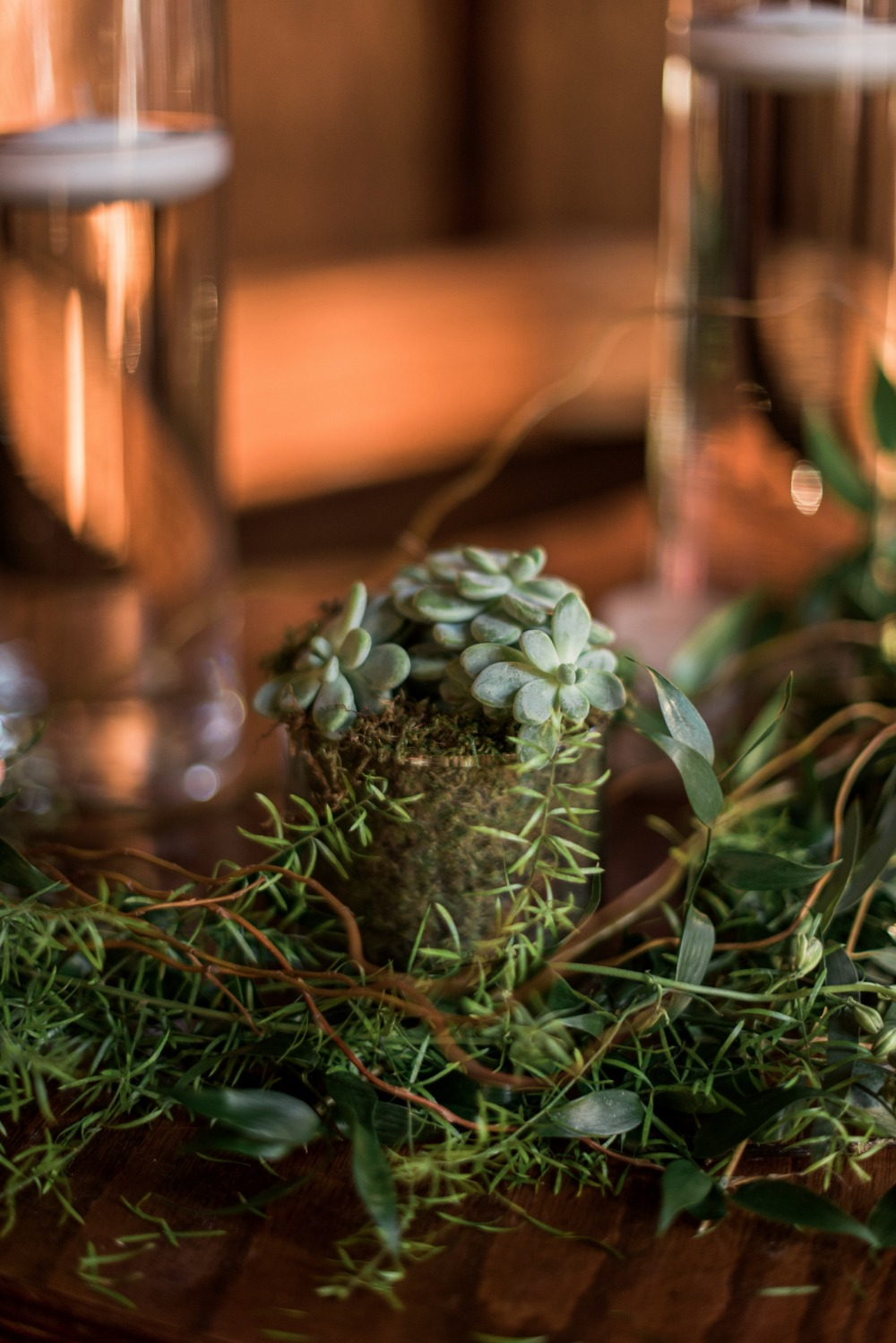 succulent and evergreen wedding aisle decor