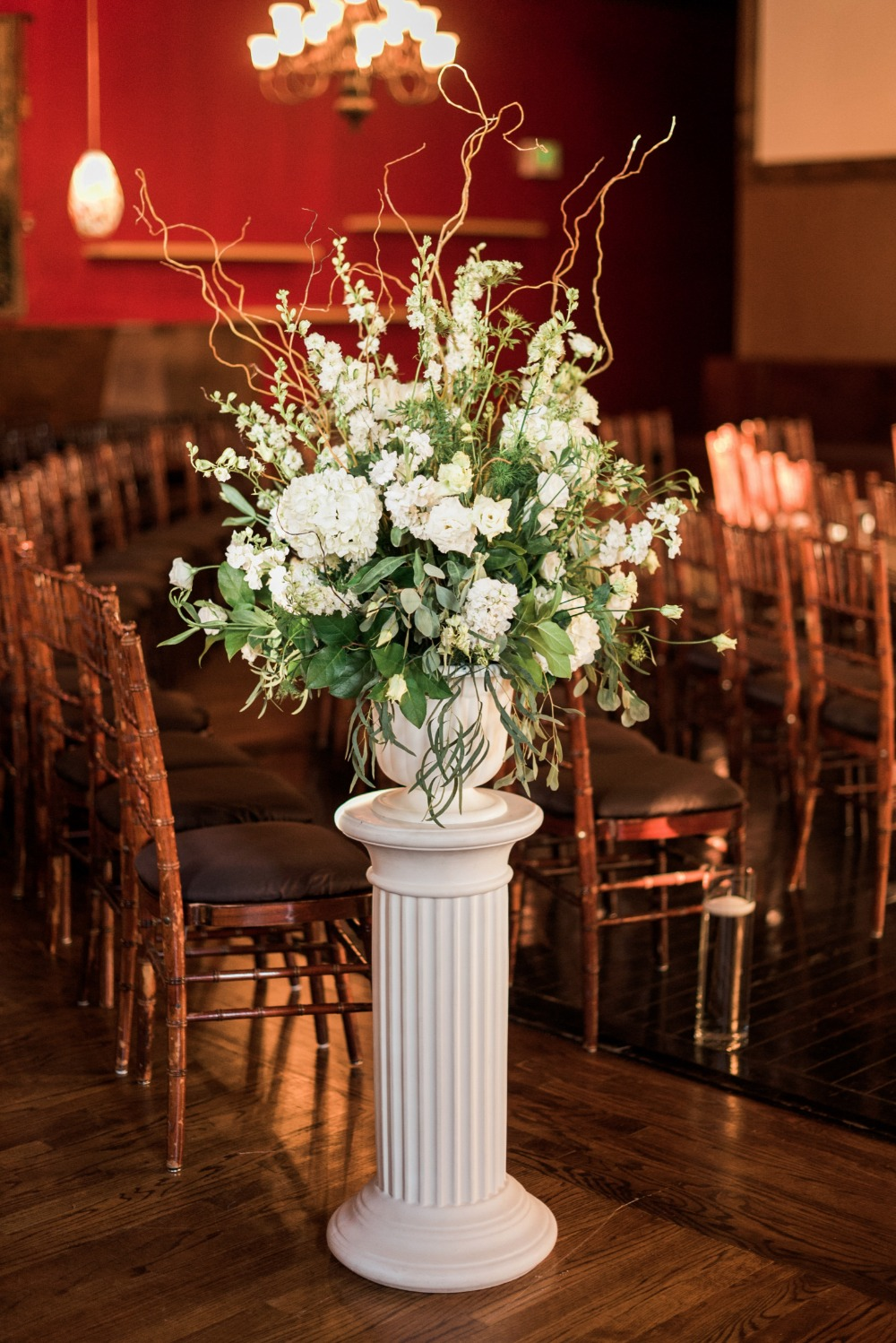 antique style white flower arrangement
