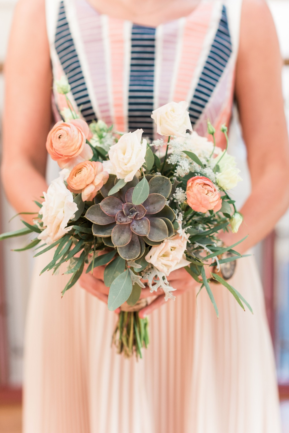 blush ivory and succulent bridesmaid bouquet