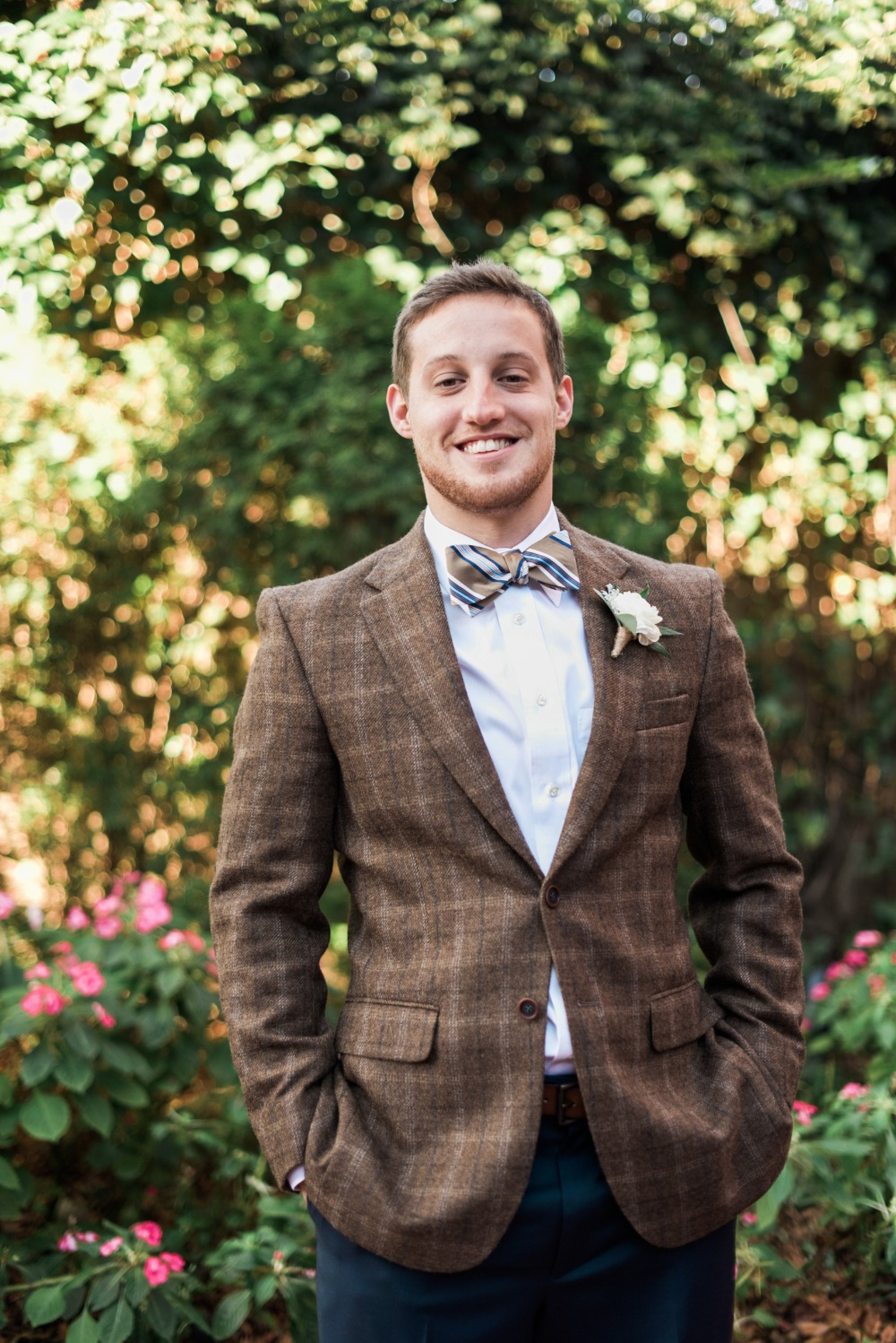 vintage groom look with tweed and bow tie