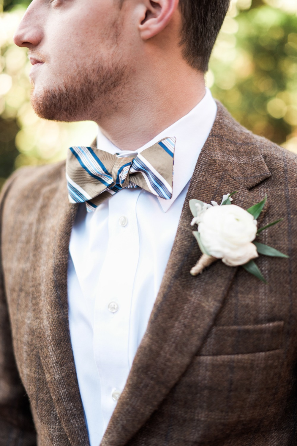 tweed and bow tie groom style